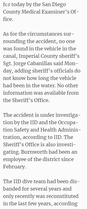 Imperial Valley irrigation district diver dies on canal recovery